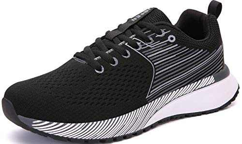 UBFEN Mens Womens Sports Running Shoes Jogging Walking Fitness Athletic Trainers Fashion Sneakers 9.5 Women/8 Men E Black White