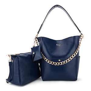 Women Fashion Handbags Tote Bag Shoulder Bag Top Handle Satchel Purse Set 5pcs (K.EYRE#2061#K122#2121L.PINK) (KL2240-1#GY21202#222 D.BLUE)
