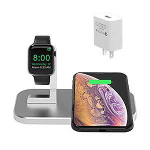 BNCHI 2 in 1 Aluminum Alloy Charging Station Compatible with iPhone12/12 Mini/12 Pro Max/11/11pro/X/Xs/Xs MAX/8 Plus/8 and iWatch 6/5/4/3/2/1(with QC3.0 Adapter) (Silver)