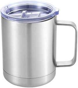 Coffee Cup - Travel Coffee Mugs - Coffee Mug Stainless Steel - Coffee Mug - Healthy & BPA Free - Camping Mug (silver-400ml)