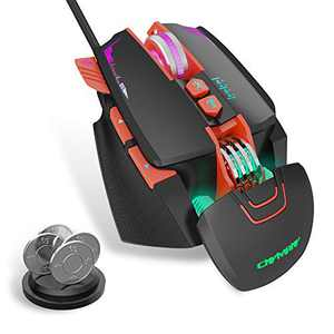 CNYMANY Gaming Mouse Wired [Removable Weights] [Programmable] [Breathing Light] [3200 DPI]Ergonomic Game USB Computer Mice with 7 Buttons 7 Backlight Modes, for Windows PC Gaming (Black)