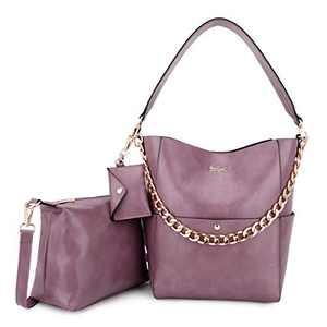 Women Fashion Handbags Tote Bag Shoulder Bag Top Handle Satchel Purse Set 5pcs (K.EYRE#2061#K122#2121L.PINK) (KL2240-1#GY21202#510PINK)