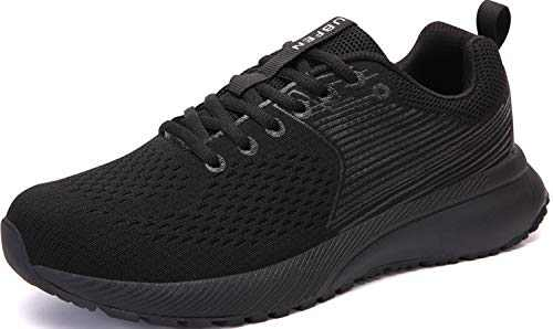 UBFEN Mens Womens Sports Running Shoes Jogging Walking Fitness Athletic Trainers Fashion Sneakers 10.5 Women/8.5 Men E Black