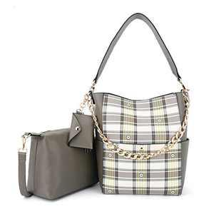 Women Fashion Handbags Tote Bag Shoulder Bag Top Handle Satchel Purse Set 5pcs (K.EYRE#2061#K122#2121L.PINK) (KL2240-1F#FC#1/9073D KHKAI/KHKAI)