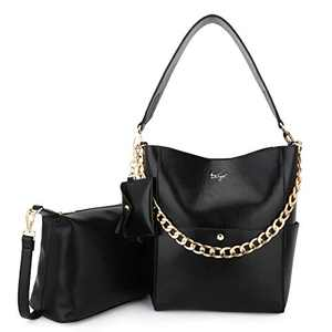 Women Fashion Handbags Tote Bag Shoulder Bag Top Handle Satchel Purse Set 5pcs (K.EYRE#2061#K122#2121L.PINK) (KL2240-1#GY21202#401BLACK)