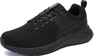 UBFEN Mens Womens Sports Running Shoes Jogging Walking Fitness Athletic Trainers Fashion Sneakers 7.5 Women/6.5 Men E Black
