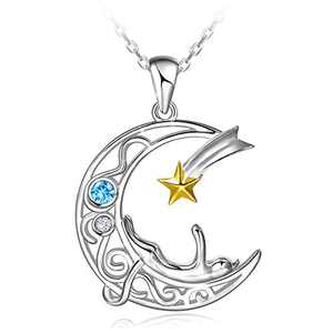 ATTRACTTO 925 Sterling Silver Cat Necklace for Women Teen Girls Cat On The Moon Pendants Love Cat Jewelry with Gift Box