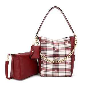 Women Fashion Handbags Tote Bag Shoulder Bag Top Handle Satchel Purse Set 5pcs (K.EYRE#2061#K122#2121L.PINK) (KL2240-1F#FC#4/Y678#2290D红 RED/RED)