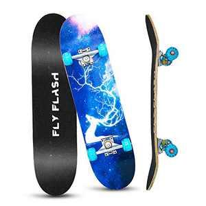 "FlyFlash Skateboard, 31""x 8"" Complete Standard Skate Boards for Girls Boys Beginner, 9 Layer Maple Double Kick Deck Skateboards for Kids Youth Teens"