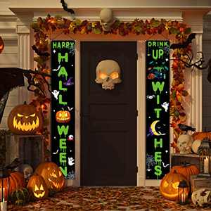 FAHZON Halloween Decorations - Happy Halloween Outdoor Indoor Banner Porch Sign Hanging Decor Witches Elements for Front Door Gate Garden Home Party
