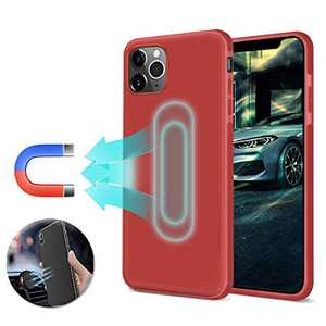 Magnetic Case for iPhone 11 Pro Max,[Invisible Built-in Metal Plate] Support Magnetic Car Holder,Ultra Thin Soft TPU Shockproof Anti-Scratch 360 Protective Magnet Cover for iPhone 11 Pro Max, Red