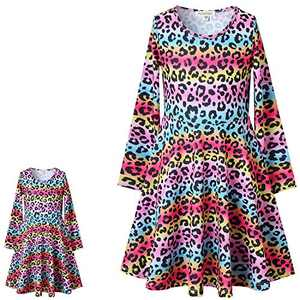 "Leopard Print Matching Girls and Doll Dress 18"" Doll Winter Outfits with Pockets Long Sleeve 8 9"