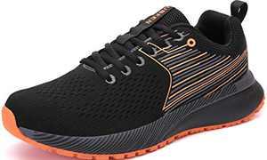 UBFEN Mens Womens Sports Running Shoes Jogging Walking Fitness Athletic Trainers Fashion Sneakers 11 Women/9.5 Men Black Orange