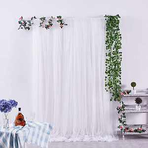 Aviviho White Curtain Tulle Backdrop Curtains 5ft x 8ft Photography Background for Parties Weddings Baby Shower Bridal Birthday Reception Photo Drape Video Stage Decorations