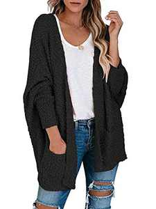 Boncasa Womens Open Front Fuzzy Cardigan Sweaters Batwing Sleeve Lightweight Popcorn Loose Knit Sweater Cloak Tops Black 2BC30-heise-XL