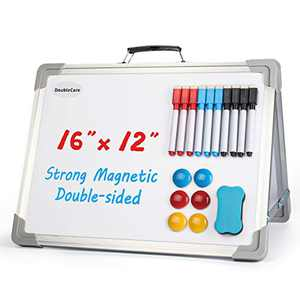 Small Dry Erase Board White -Magnetic Double-Sided Desktop Portable Mini Easel Whiteboards, Foldable 16''x12'' Whiteboard with Stand, Perfect for Home Office and Classroom Teaching Use for Kids