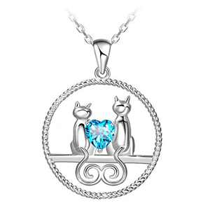 ATTRACTTO 925 Sterling Silver Cat Necklace for Women Teen Girls Double Cat On The Moon Pendants Jewelry with Gift Box
