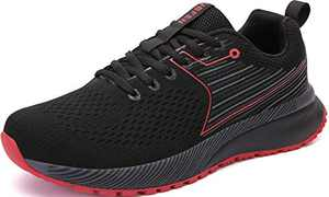 UBFEN Mens Womens Sports Running Shoes Jogging Walking Fitness Athletic Trainers Fashion Sneakers 9.5 Women/8 Men E Black Red