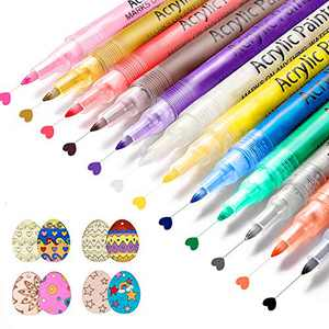 Paint Pens Acrylic Paint Markers, 12 colors Waterproof Paint Pens for Rock Painting, Stone, Ceramic, Glass, Wood, DIY Crafts Making, 0.7mm Fine Tip