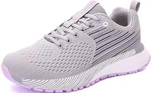 UBFEN Mens Womens Sports Running Shoes Jogging Walking Fitness Athletic Trainers Fashion Sneakers 5.5 Women/4.5 Men E Grey Purple