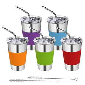 Rommeka Tumbler Cups with Lids and Straws, 16oz Stainless Steel Reusable Spill Proof Sippy Cup with Straw for Kids and Adults, 5 Pack