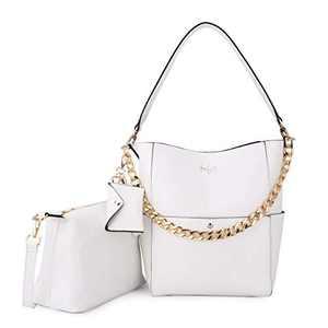 Women Fashion Handbags Tote Bag Shoulder Bag Top Handle Satchel Purse Set 5pcs (K.EYRE#2061#K122#2121L.PINK) (KL2240-1#GY21202#101WHITE)