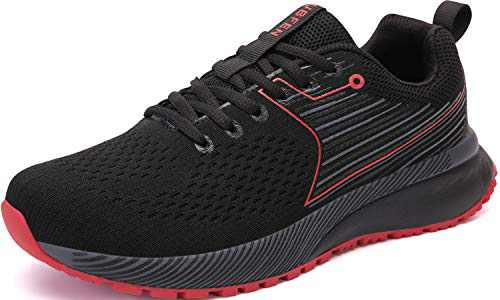 UBFEN Mens Womens Sports Running Shoes Jogging Walking Fitness Athletic Trainers Fashion Sneakers 12.5 Women/11 Men E Black Red