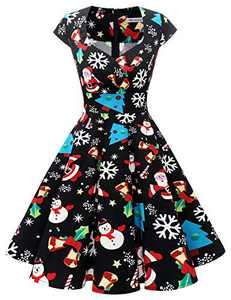 Bbonlinedress Women Short 1950s Retro Vintage Cocktail Party Swing Dresses Black Snowman 4XL