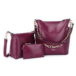 Women Fashion Handbags Tote Bag Shoulder Bag Top Handle Satchel Purse Set 5pcs (K.EYRE#2061#K122#2121L.PINK) (KL7193#GY21202#132RED)