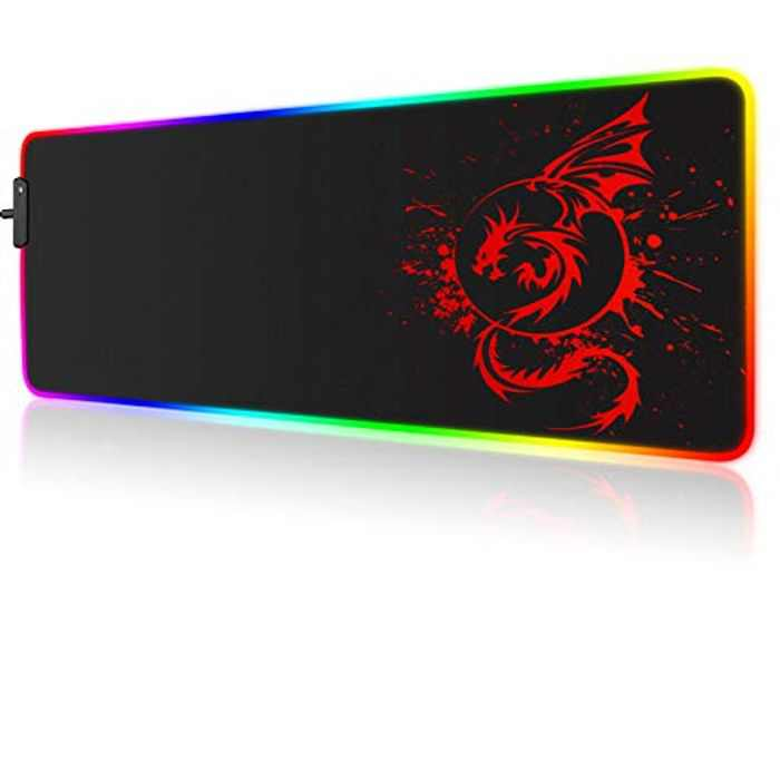 RGB Gaming Mouse Pad, Large Extended Glowing Led Mousepad with 15 Lighting Modes and USB,Smooth Surface Waterproof Gamer Mouse Mat for Gaming, Macbook, PC, Laptop, Desk 31.5 X 12 Inch (Red)