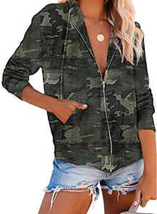 Zecilbo Womens Fashion Camo Print Jackets Fashion Camo Print Sweatshirts Y Green Large