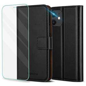 Pinzoveno for iPhone 11 Case Wallet, Flip Case with Card Holder Slots and Screen Protector Kickstand PU Leather Folio Phone Cover for iPhone 11 - Black