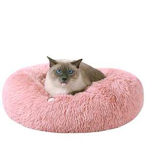 HACHIKITTY Calming Cat Bed Machine Washable, Cat beds Indoor Cats Medium, Flush Faux Fur Donut Cat Bed