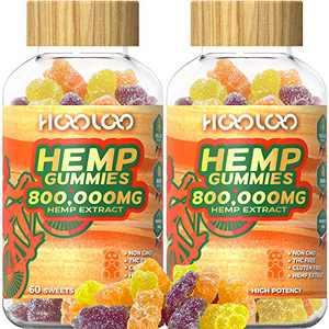 Vegan Hemp Gummies, HOOLOO 2 Pack 800,000MG Natural Hemp Gummy Bears for Relaxing, Sleep Better, Reduce Stress Anxiety, Fruity Hemp Extract Gummies, Made in USA