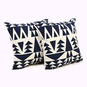 TEXPLUS Pack of 2 Decorative Geometric Pattern Square Embroidered Cotton Throw Cushion Covers (Dark Blue Triangle, 18Wx18L)