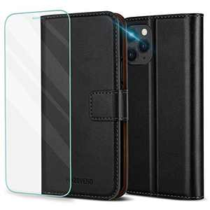 Pinzoveno iPhone 11 Pro Max Wallet Case with Card Holder Slot and Screen Protector Kickstand PU Leather Folio Phone Cover for iPhone 11 Pro Max - Black