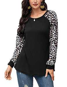 Women Leopard Print T-Shirt Casual Long Sleeve Waffle Knit Tunics Pullover Tops Black