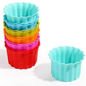 Kayaso Reusable Silicone Baking Cups, None-Stick Cupcake Muffin liners, Mini Cake Mold, BPA free, Fluted Round Mold, 12 pack, Assorted Colors, Jumbo Size.