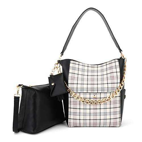 Women Fashion Handbags Tote Bag Shoulder Bag Top Handle Satchel Purse Set 5pcs (K.EYRE#2061#K122#2121L.PINK) (KL2240-1G#JZ006#2/Y678#4001 APRICOT/BLACK)