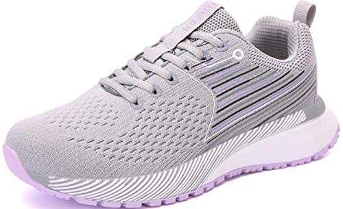 UBFEN Womens Sports Running Shoes Jogging Walking Fitness Athletic Trainers Fashion Sneakers Skateboarding 9.5 Women/8 Men Grey Purple