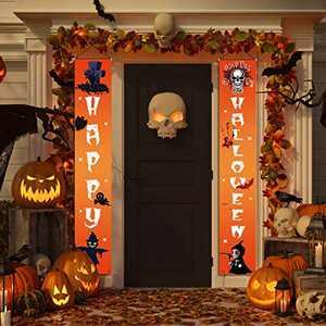 Anjuke Halloween Decorations - Happy Halloween Outdoor Indoor Banner Porch Sign Hanging Decor Horror Elements for Front Door Gate Garden Home Party