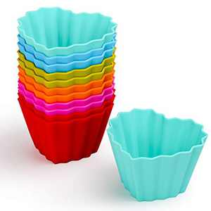 Kayaso Reusable Silicone Baking Cups, None-Stick Cupcake Muffin liners, Mini Cake Mold, BPA free, Fluted Heart Mold, 12 pack, Assorted Colors, Jumbo Size.