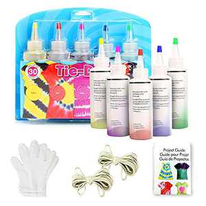 Souarts DIY Tie Dye Kits - 5 Colors Fabric Dye Art Set with Rubber Bands Gloves and Table Covers for Birthday Gift Tie Dye for Kids,Adult