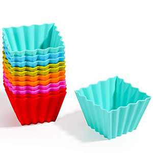 Kayaso Reusable Silicone Baking Cups, None-Stick Cupcake Muffin liners, Mini Cake Mold, BPA free, Fluted Square Mold, 12 pack, Assorted Colors, Jumbo Size