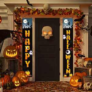 Anjuke Halloween Decorations - Happy Halloween Outdoor Indoor Banner Porch Sign Hanging Decor Witches Elements for Front Door Gate Garden Home Party