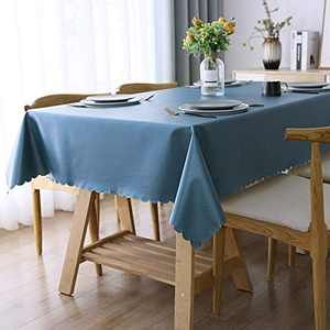 """Smiry Heavy Duty Vinyl Tablecloth, Waterproof and Oil-Proof Solid Color Wipeable Table Cloth, Washable Table Cover for Indoor and Outdoor Use(60"""" X 84"""",StoneBlue)"""