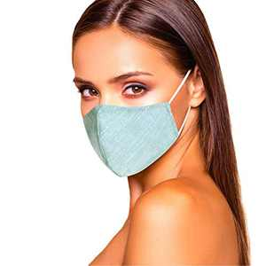 Cloth Face Mask Washable with Filter Pocket - for Women - Soft & Cute USA Made (Light Blue)
