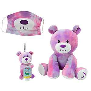 Animal Adventure, WelloBeez – Antimicrobial Plush, Musical Clean Crew – Plush with Hand-Washing Song + Clip & Clean – Plush Keychain with Empty, Refillable Sanitizer Bottle and Face Mask – Bear