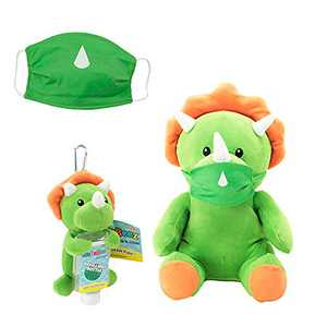 Animal Adventure, WelloBeez – Antimicrobial Plush, Mask Mate – Masked Plush with Additional Face Mask and Clip & Clean – Plush Keychain with Empty, Refillable Sanitizer Bottle, Dino Bundle
