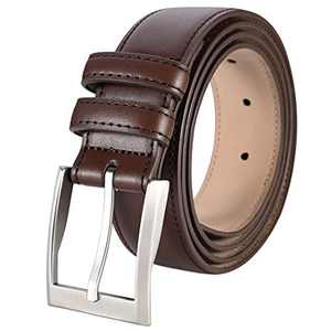 """ToyRis Men's Casual Leather Belts with Single Prong Buckle Basic Dress Belt for Men, 1 3/8"""" Width (Brown, 42"""")"""